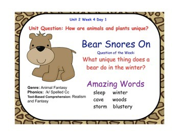 Reading Street Bear Snores On Flipchart Days 1-5