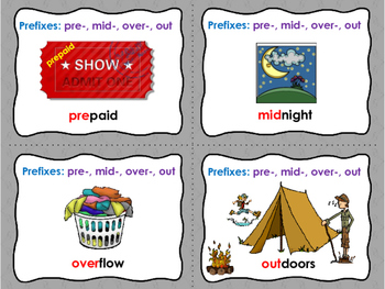 Prefixes- pre-,mid-,over-,out Reading St,  Rocks In His Head CENTER Photo Cards