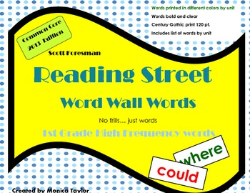 Reading Street CC 1st Grade High Frequency Word Wall Words (Color Coded)