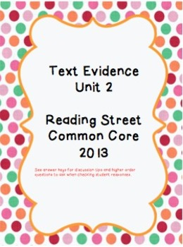 Reading Street CC 2013 Text Evidence Unit 2
