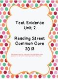 Reading Street CC 2013 Text Evidence Unit 2
