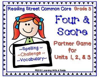 Reading Street Third Grade Spelling, Challenge, Vocabulary Game Units 1-3
