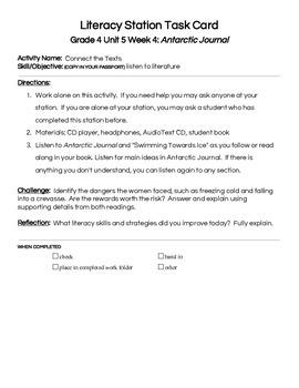 Reading Street Center Task Cards Grade 4 Unit 5 Week 4