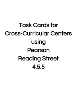 Reading Street Center Task Cards Grade 4 Unit 5 Week 5