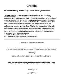 Reading Street Center Task Cards Grade 5 Unit 5 Review Week 6
