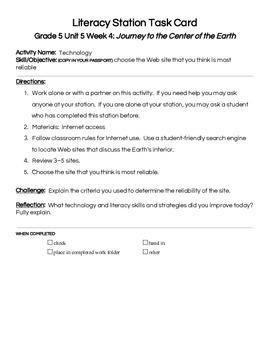 Reading Street Center Task Cards Grade 5 Unit 5 Week 4