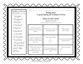 Reading Street 1st Grade Spelling Activities - D'nealian- Centers or Homework