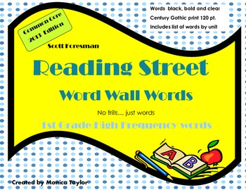 Reading Street Common Core 1st grade High Frequency Word Wall Words