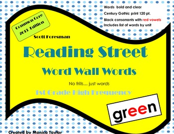 Reading Street CC 2013 High Frequency Word Wall Words (bla
