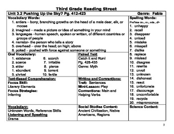 Reading Street (Common Core 2013) Unit 3 Reference Lesson Planner