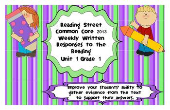 Reading Street Common Core 2013-Written Response Organizers & Tests Gr. 1-Unit 1
