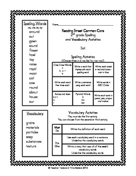Reading Street 2nd Grade Spelling & Vocabulary Activities for Centers / Homework