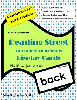 Reading Street Common Core First Grade Spelling Words (for display)
