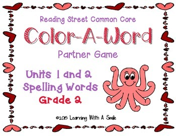 Reading Street Grade 2 Spelling (Units 1 & 2) Color-A-Word Partner Game