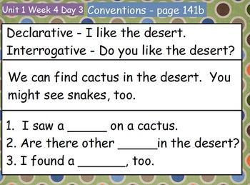 Reading Street Flipchart Common Core Second Grade Unit 1 Week 4 A Walk...desert