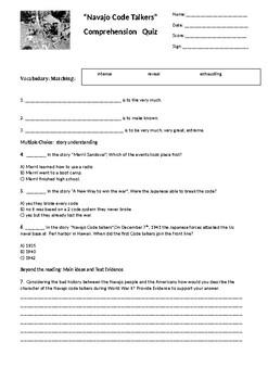 Navajo Code Talkers Reading Street Comprehension Quiz 4th grade G4