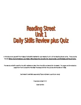 Reading Street Daily Skills Review Unit 1