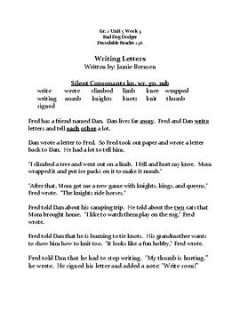 Reading Streets Decodable 23A Practice sheet Grade 2 Unit 5 Week 3