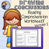 Drawing Conclusions Reading Comprehension Worksheet