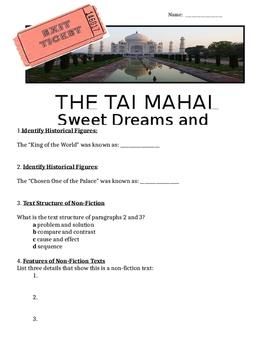 Reading Street Emperor Silent Army Day 4 Paired Passage Taj Mahal Grade 6