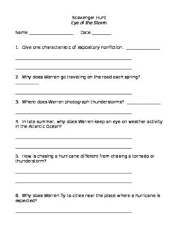 4th grade Reading Street Eye of the Storm Scavenger Hunt ***Editable
