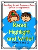 Reading Street FIRST GRADE Spelling (Units 1-2)  READ, HIGHLIGHT, WRITE: No Prep