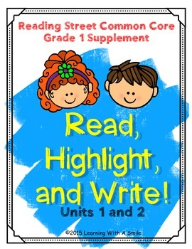 Reading Street FIRST GRADE Spelling (Units 1-2)  READ, HIGHLIGHT, WRITE: No Prep