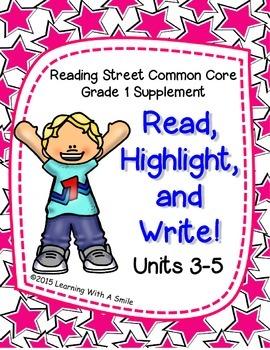Reading Street FIRST GRADE Spelling (Units 3-5)  READ, HIGHLIGHT, WRITE! No Prep
