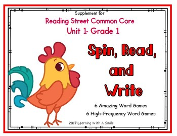 Reading Street FIRST GRADE Spin, Read, and Write Game Unit 1