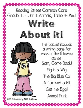Reading Street FIRST GRADE Writing (Unit 1): Write About It! No Prep