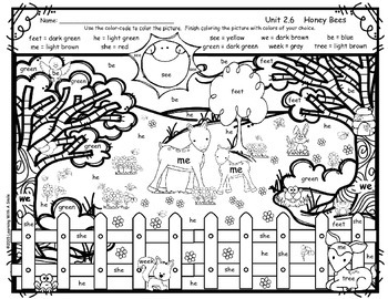 Reading Street FREEBIE First Grade COLOR BY WORD Unit 2.6 HONEY BEES