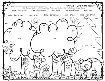 Reading Street FREEBIE First Grade Color By Word LIFE IN THE FOREST