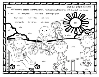 Reading Street FREEBIE First Grade Color by Word SIMPLE MACHINES