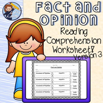 Fact and Opinion Reading Comprehension Worksheet 3