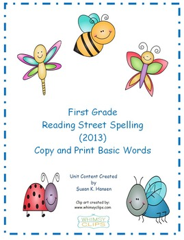 Reading Street First Grade Copy and Print Spelling Words