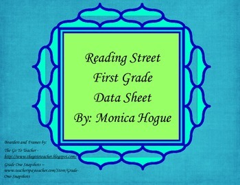 Reading Street - First Grade Data Sheet