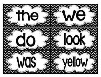Reading Street First Grade High-Frequency (Sight) Words in Black and White