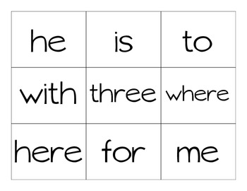 Reading Street First Grade High Frequency Word Roll