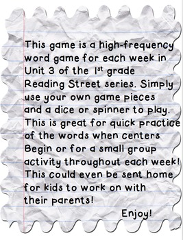 Reading Street First Grade High-Frequency Word Trail Game ...Unit 3