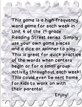 Reading Street First Grade High-Frequency Word Trail Game ...Unit 4