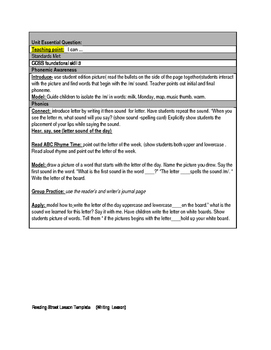 Reading Street First Grade Lesson Plan Template
