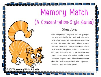 Reading Street First Grade MEMORY MATCH Unit 1 Spelling/HF/Amazing Words