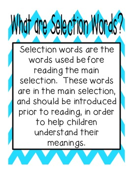 Reading Street First Grade Selection Words (Bright Colors) (Fun Font)
