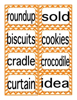 Reading Street First Grade Selection Words (Primary Colors/Bold Font)