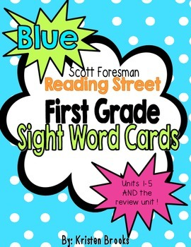 Reading Street First Grade Sight Word Cards in BLUE (2013 Common Core)