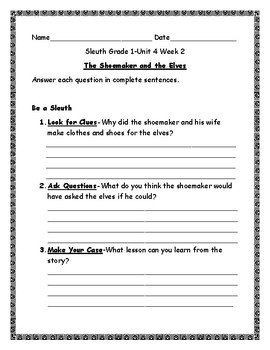Reading Street First Grade Sleuth Comprehension Questions for Unit 4 Weeks 1-6