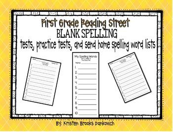Reading Street First Grade Spelling Test/Word Lists (Blank)