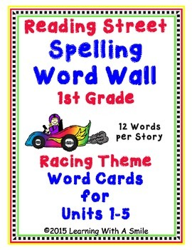 Reading Street First Grade Spelling Words: Word Walls/Pocket Charts (Race Theme)