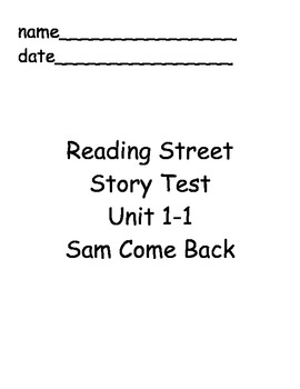 Reading Street First Grade Unit 1 Story Tests