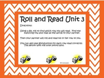 Reading Street First Grade Unit 3 Roll and Read